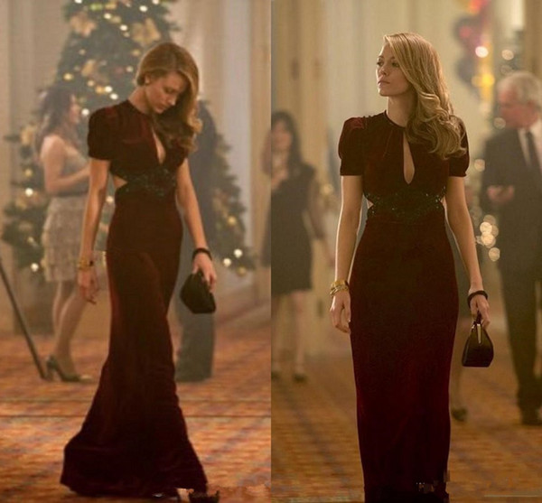 Beautiful Blake Lively prom Dresses Age of Adaline Film Sexy V Neck Short Sleeve Keyhole Neck 2019 Long Formal Dresses Party Evening Gown