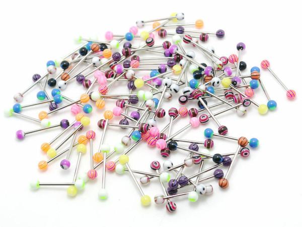 Stern-Herz-Feuer-Schädel-Etc-Zunge schellt Mischungs-Farben 100pcs Körper-Piercing-Schmucksache-Edelstahl-Barbell-Acryl 5mm Ball-Ohrring