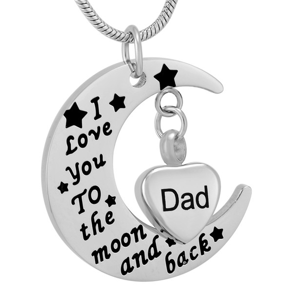 DJX9737 DIY Stainless Steel 'I Love you to the moon and back' Dad Cremation Urn Memorial Necklace Ashes Holder Keepsake Jewelry