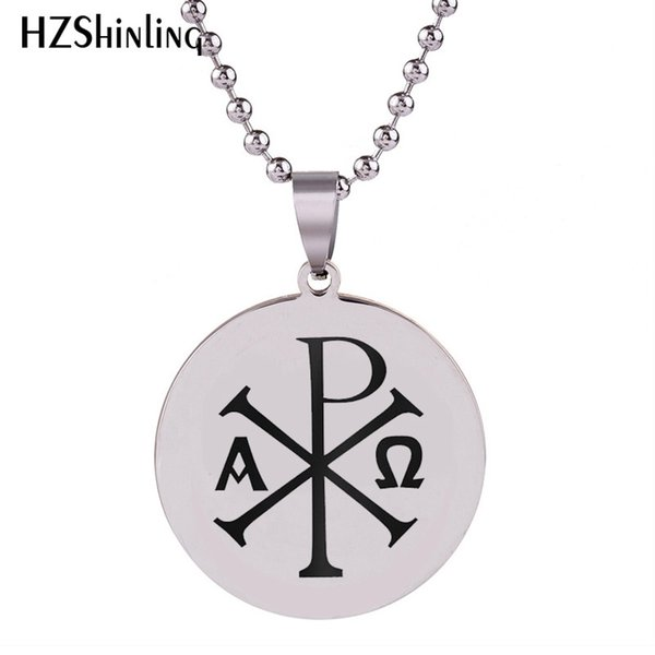 2018 New Rho Alpha Stainless Steel Necklace Handmade Pendant Necklaces Silver Round Jewelry Ball Chain