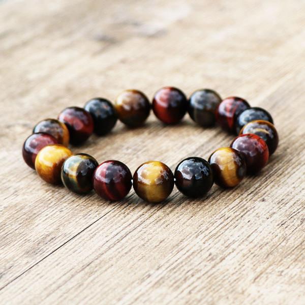 Naturel Bracelet Oeil De Tigre 14mm Perles Bijoux Accessoires Multi Couleur Oeil De Tigre Pierre Hommes Femmes Bracelet