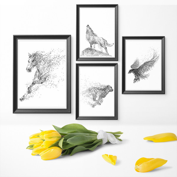 Wall Art Minimalism Particle Black And White Watercolor Eagle Horse Wolf Animal Art Canvas Painting Poster Print Home Decor