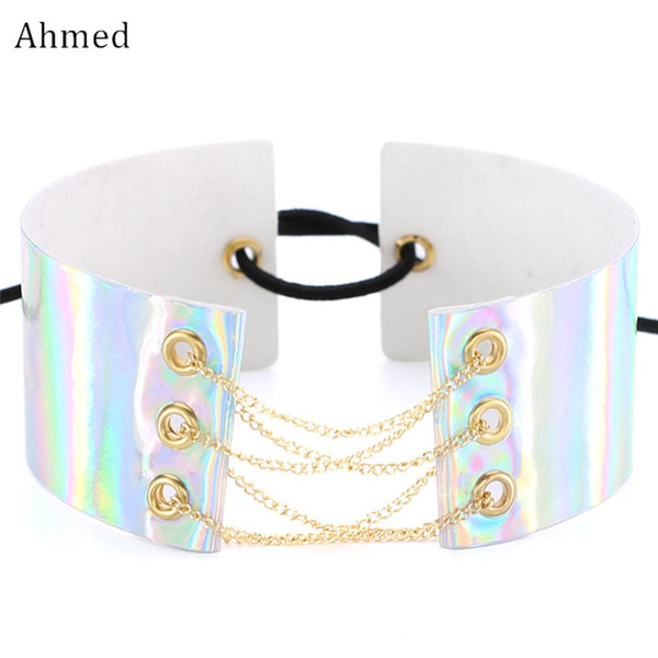 Ahmed New Design Chain Accessory Laser Leather Choker Necklaces for Women Fashion Punk Sexy Colorful Collar Necklace Jewelry