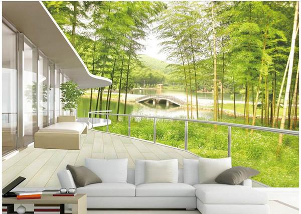 Papel tapiz 3d foto personalizada Bambú bosque lago puente paisaje fondo sala de estar decoración para el hogar murales de pared 3d papel tapiz para paredes 3 d
