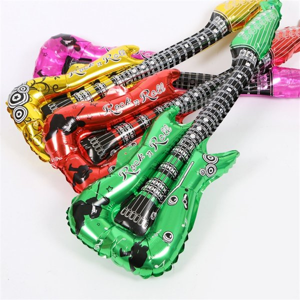 Aluminium Coating Guitar Balloon Fashion Colorful Cheers Strike Rod Holiday Party Wedding Ceremony Decorate Toy New Arrival 0 55mx W