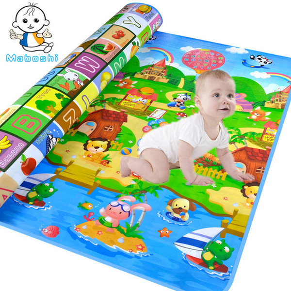 top popular Maboshi Waterproof Baby Crawling Mats Ocean And Zoo Children Play Beach Game Eva Foam Soft Carpet Rug Toy 180*120CM 2021