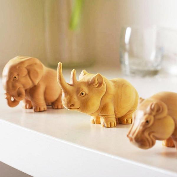Legno fatto a mano creativo intaglio rinoceronte elefante ippopotamo animale bambola in legno artigianato regali decorazione della casa ornamenti