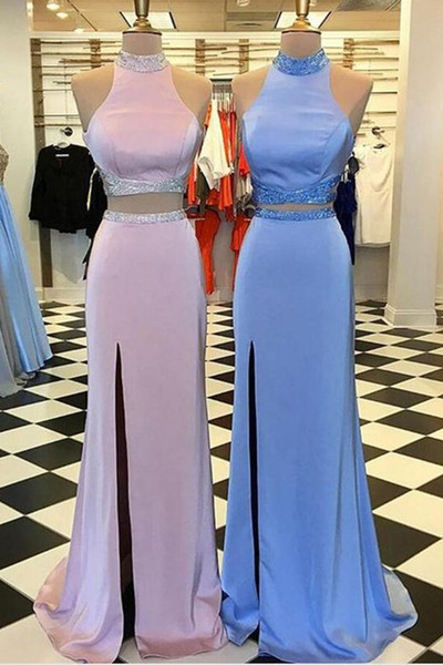 Elegant Pink Blue Cheap Prom Dress 2 Pieces High Neck Sheath 2018 With Side Slit Elastic Satin Backless Evening Formal Gowns Long
