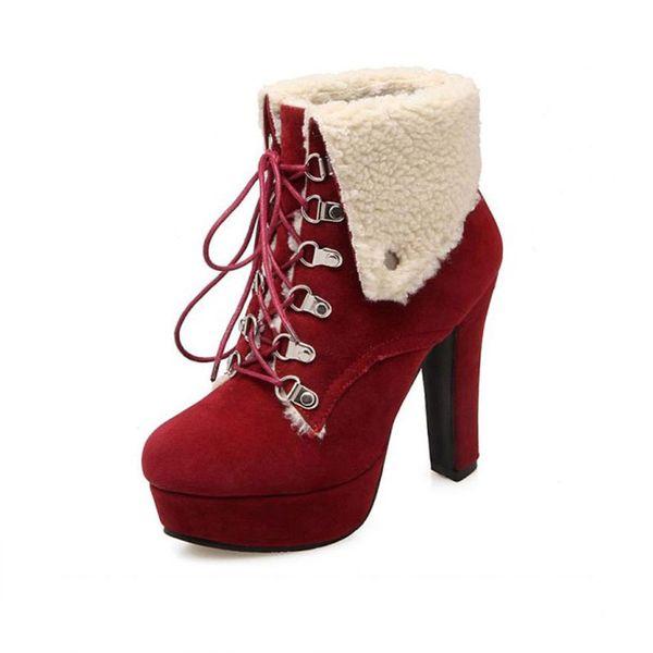 Women Platform Thick Heel Ankle Boots Woman Round Toe Lace Up Heels Shoes Woman Warm Fur Botas Feminina Size 34-43