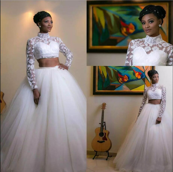 Two Piece Wedding Ball Gown Lace Wedding Dresses High Collar Bridal Gown Long Sleeve Bridal Dress Lace Jacket With Tulle Skirt