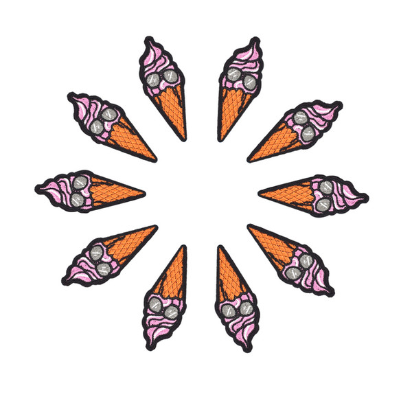 10 PCS Engraçado Patches De Gelado para Sacos de Roupas de Ferro em Apliques de Transferência de Patch para Calças de Brim Camisola DIY Costurar em Remendo Bordado para Crianças
