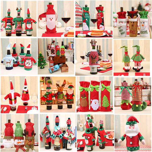 Christmas Decoration 2018 Santa Claus Wine Bottle Cover Gift Santa Sack Bottle Hold Bag Snowman Xmas Decor Home Decoration