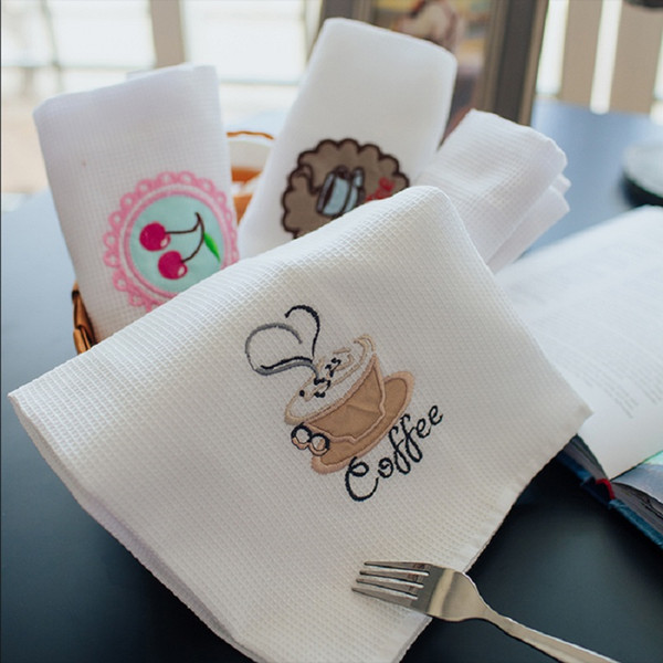 top popular 2018 New Table Napkins White Kitchen Towel Cotton Waffle Coffee Tea Mug Towel White Cleaning Cloth Dish Towels 2021