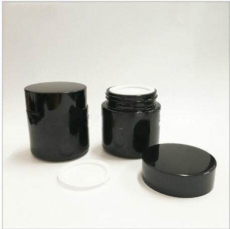 empty black glass cream jar 50g with black aluminum lid, 50g cosmetic jar for mask or eye cream ,50g glass bottle