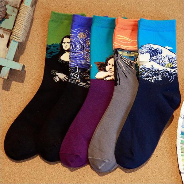 Venda imperdível! Homens meias de algodão 5 pares / lote famosa arte da pintura meias moda colorida masculina e masculina meia
