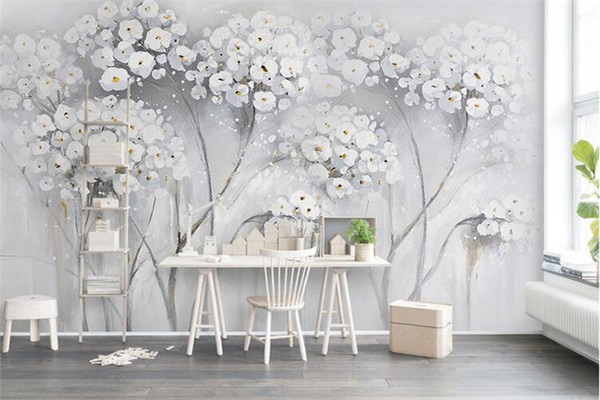 Custom North Europe Mural Photo Wallpaper canvas painting flower fashion Wall Mural Abstract Art Wall Paper Bedroom Wall Decor