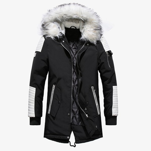 Large Fur Collar Men Wadded Cotton Long Coat Thick Patchwork Warm Plus Size Casual Male Loose Outerwear Winter Parkas MZ3181