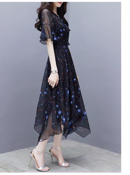 Irregular Mesh Gauze Summer Skirt Star Print Dreamlike Black Flare Sleeve Dress Long Chiffon New Fashion Shirt Collar Sheer Dress