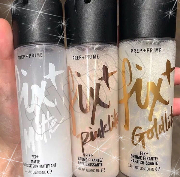 Alta Qualidade M Fix + Prep + Prime 3 pcs Definir Spray Goldlite Pinklite Fosco Shimmer Fix Longa duração frete grátis