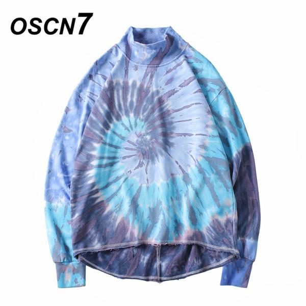 OSCN7 Fall High Street Half-height Collar Gradient Design Sweatshirt Men Brand Clothing Streetwear Tie-dye Sweatshirt Men ZR003