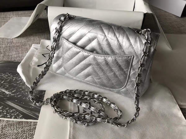 2018 new arrived cowhide v plaid silver flap bag 7A best quality 1112 boy famous brand women genuine leather shoulder bag 20cm 25cm DHL free