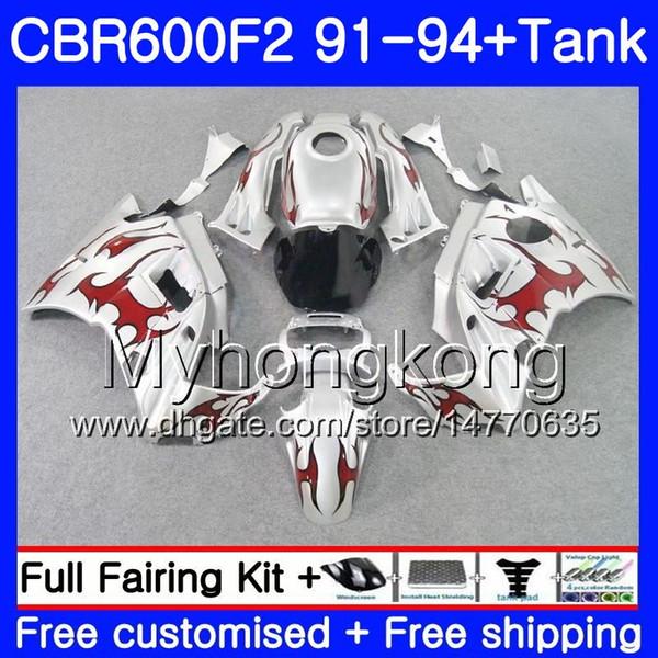 Body For HONDA CBR 600F2 FS CBR600RR CBR600 F2 91 92 93 94 1MY.23 CBR600FS CBR 600 F2 CBR600F2 Red silvery 1991 1992 1993 1994 Fairing kit