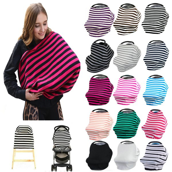 Baby Feeding Cover High Chair Cover Multifunctional 5 in 1 Baby Car Seat Canopy Striped Infant Shopping Cart Nursing