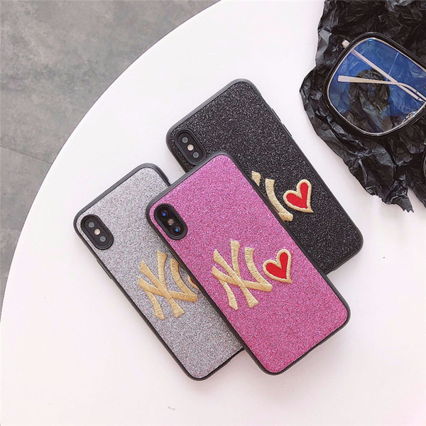 Hot selling Tide card NY Embroidery Glitter Cover Case For iPhone 6 6s 7 8 Plus X Luxury Shiny Glitter Red Heart Blinking Protect Back Cover