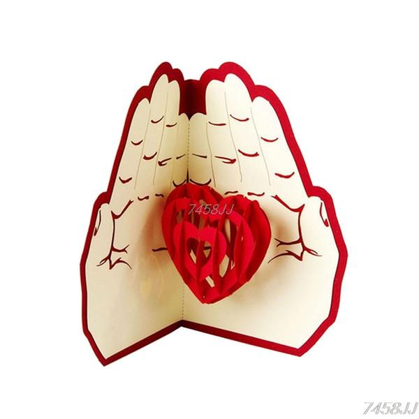 Acheter 3d Pop Up Carte De Voeux Cadeau De Noël Amour Dans La Main Carte Postale Correspondant Enveloppe Découpe Au Laser Main Anniversaire Carte