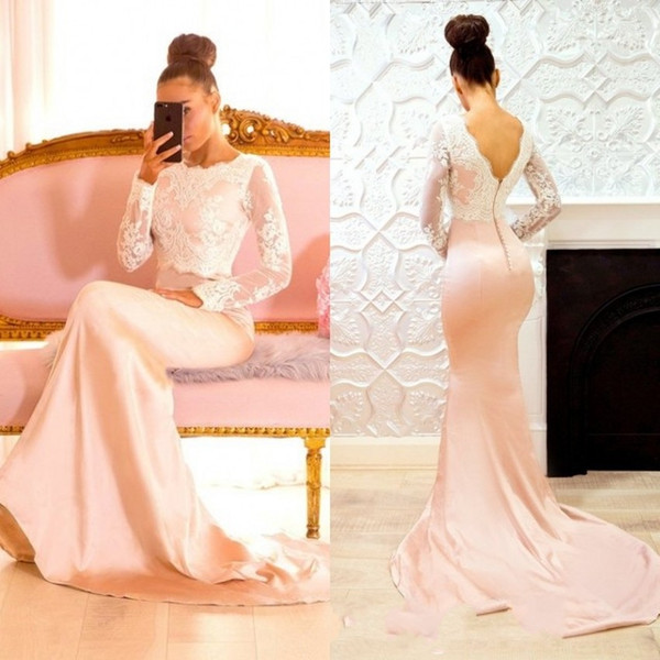 2018 Classical Evening Dresses Scoop Long Sleeve Lace Pattern Sexy Back Fashion Design Special Occasion Dresses Gorgeous Prom Dresses