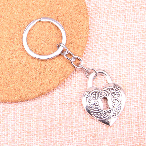 Fashion 28mm Key Ring Metal Key Chain Keychain Jewelry Antique Silver Plated heart lock 32*22mm Pendant