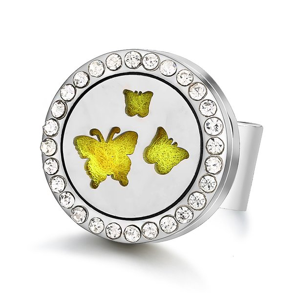 Butterfly Magnetic 316L Stainless Steel Aromatherapy Diffuser Locket Open Rings Jewelry Free Size
