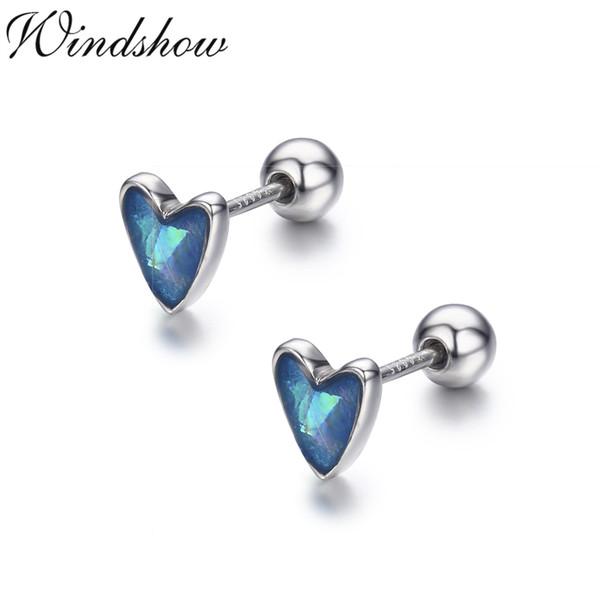 Bonito Pequeno Azul Pêssego Coração 925 Sterling Silver Screw Brincos Para As Mulheres Meninas Crianças Piercing Jóias Orecchini Aros Aretes