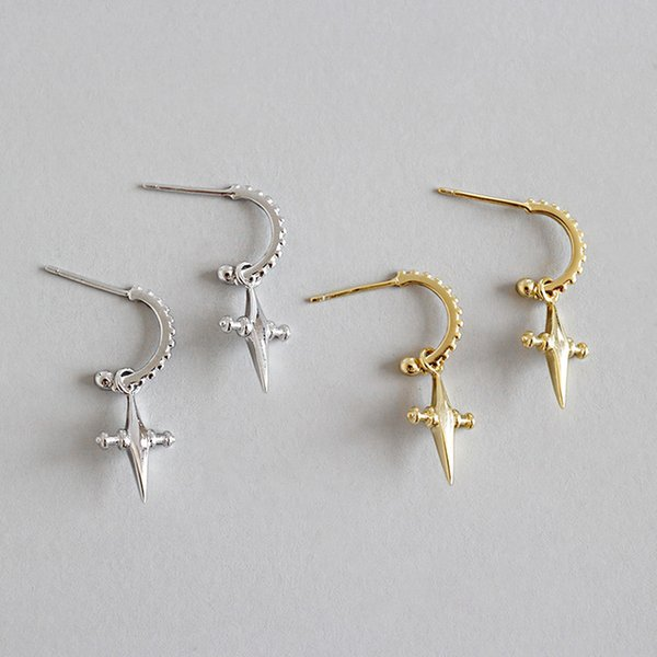 ABC silver, pure silver, thickened, electroplated cross, short 925 ear studs Earrings Fashion Gife for Women's Elegant, simple, European