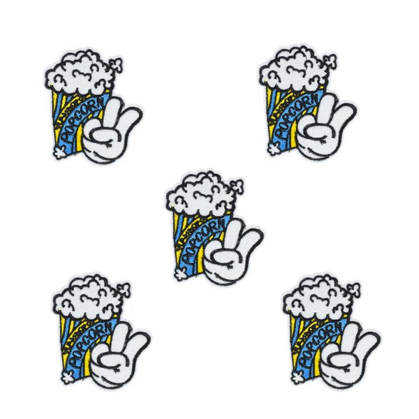 10 PCS blue popcorn embroidery badge patches for clothing iron patch for clothes applique sewing accessories stickers on cloth iron on patch