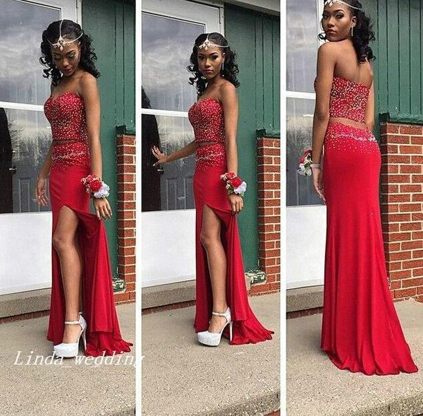 Free Shipping New Sexy Red Two Piece Evening Dresses African Vestido de Festa Longo Sleeveless Beading Floor-Length Long Tight Prom Dresses