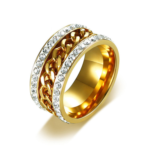 2020 Cubic Zirconia Spinner Rings For Women Men Stylish Gold Color