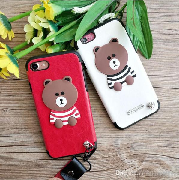 Para iphone x 6 7 8 além de urso marrom dos desenhos animados tpu telefone case soft shell com colhedor
