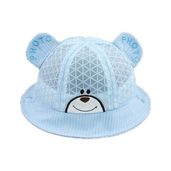 Cute Bear Plaid Mesh Fisherman Ear Cap Panama Outdoor M5996 Unisex Dome Solid Bucket Hat Boys Girls Kids Summer Child Cap Hat