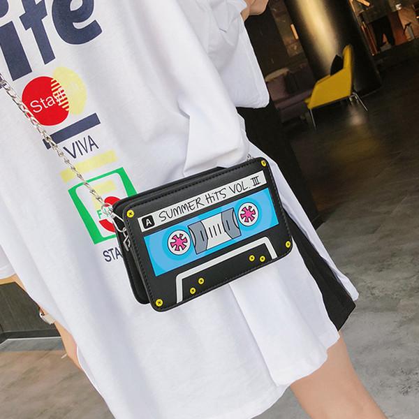 Kleine Tasche Frau 2018 Druck Mädchen Kette Box Clutch Fashion Style Messenger Schultertasche PU Leder Geldbörse Geschenk Handtasche