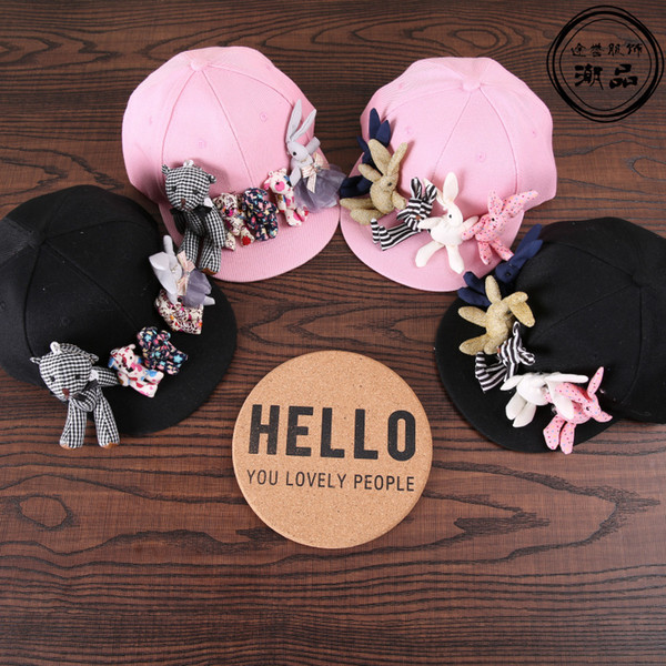 Fashion korean cartoon bear rabbit baseball caps kids trendy handmade cute sun hats vacation casual Visor snapback caps for 3-7 D18110601