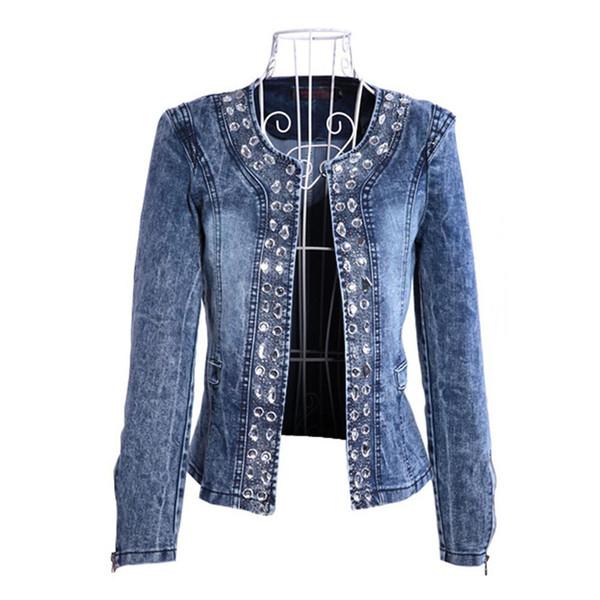 Nuevos Diamantes Paillette Abrigos de mujer Blaser Water-Wash Chaquetas de mezclilla para mujeres Casual Ladies Jeans Cardigan Azul Plus Size