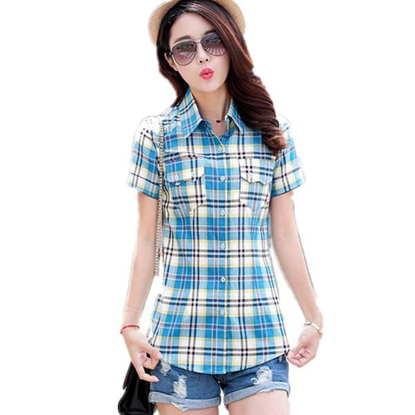 New Fashion summer style Women shirt short Plaid Blouses cotton checkered shirt female Flannel Slim tops plus size M-XXXL ZY1439