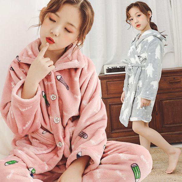 Bebê Crianças Inverno Flanela Pijama Define Crianças Menina Quente Grosso Casaco de Lã Pant Sleepwear Meninas Moda One-Piece Nightgowns