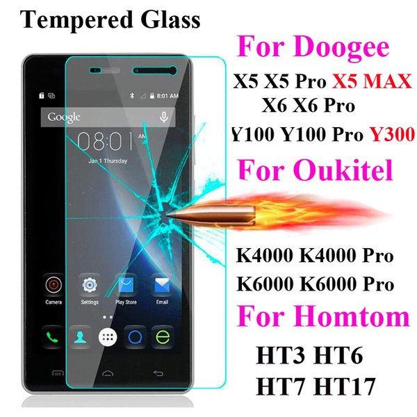 Screen Protector Film Tempered Glass For DOOGEE X5 Max X6 Pro T6 Oukitel K6000 K10000 Homtom Ht3 Ht6 Ht7 Pro Ht17 S60 Mix X20