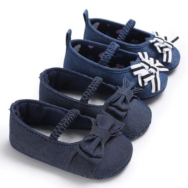 Princess Baby Girls Shoes Crib Footwear Blue Bowknot Denim Mary Jane Newborn Infant Toddler Soft Sole First Walker Prewalkers