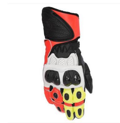 Racing GP Plus R Mens Leather Motorcycle Sport Bike Street Gloves Orange White
