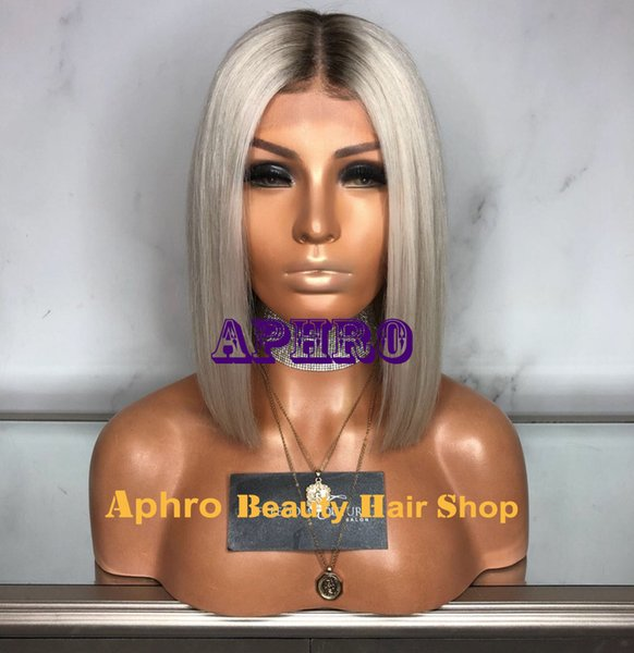 Middle Parting Platinum Blonde Short Front Lace Bob Wigs With Dark Roots Brazilian Human Hair Straight Full Lace Wigs Glueless Wholesale