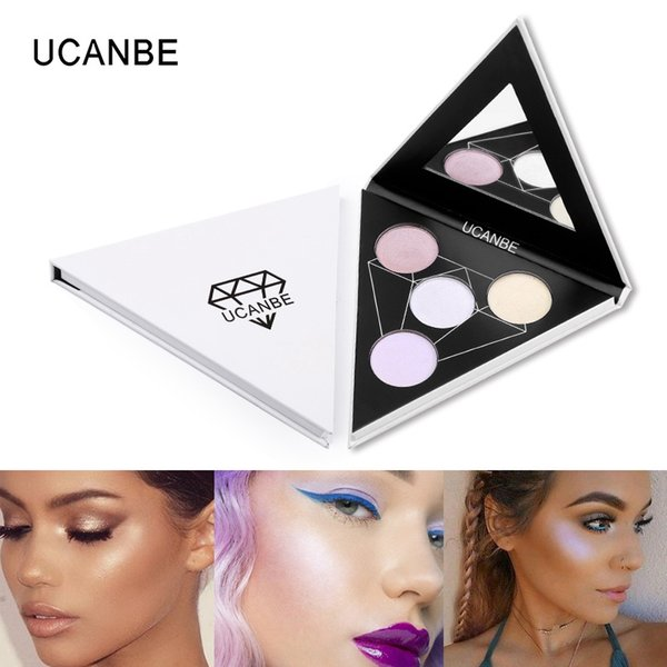 ucanbe 4 colors triangle glitter eyeshadow palette eye lip face nude polarized eye shadow highlighter glow shimmer cosmetics
