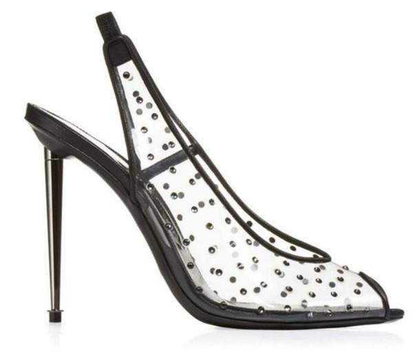 2018 New women high heels metal heel dot print pumps party shoes diamond stud pumps dress shoes glitter wedding shoes thin heel